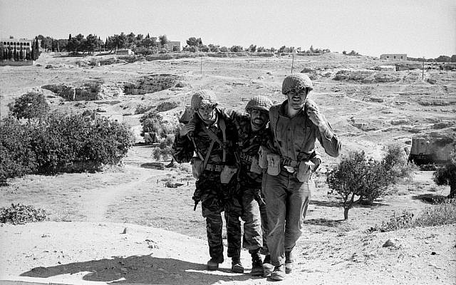 A wounded soldier and two comrades near Augusta Victoria (Photo credit: Copyright: Yossi Shemy/ all rights reserved)