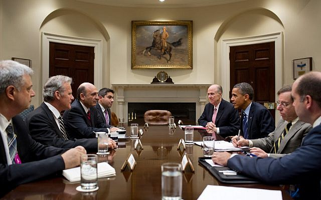 Deputy Prime Minister Shaul Mofaz meets with President Barack Obama at the White House in June (photo credit: White House, Flickr)