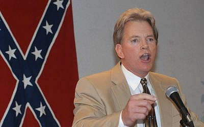 Former Ku Klux Klan leader David Duke speaks to supporters after his release from prison in 2004. (photo credit: Burt Steel/AP)