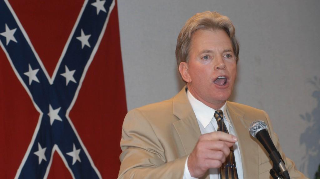 Former Ku Klux Klan leader David Duke speaks to supporters after his release from prison in 2004. (photo credit: Burt Steel/AP)