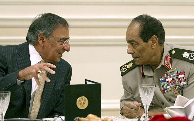 US Defense Secretary Leon Panetta, left, meets with the leader of Egypt's ruling military council Field Marshal Mohamed Hussein Tantawi in Cairo last year. (photo credit: Win McNamee/AP)