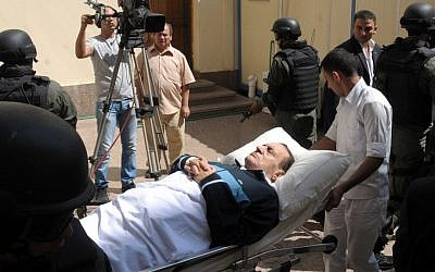 Hosni Mubarak being wheeled into court last September (photo credit: AP/Mohammed al-Law)
