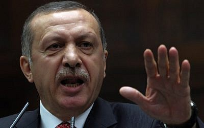 Turkish Prime Minister Recep Tayyip Erdogan speaks at the parliament in Ankara (photo credit: AP/Burhan Ozbilici)