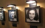 Portraits of Anne, her sister Margot, and mother Edith, inside the Anne Frank House. (photo credit: Matt Lebovic)