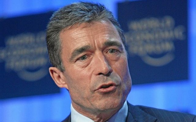 NATO Secretary General Anders Fogh Rasmussen (photo credit: CC BY Wikipedia/World Economic Forum/File)