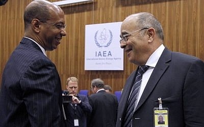 US Alternate Permanent Representative to the UN Robert Wood (left) with Israel's Ambassador to the IAEA Ehud Azoulay in Vienna on Monday (photo credit: AP/Ronald Zak)