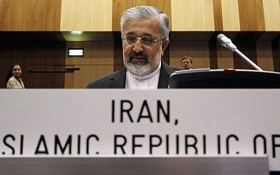 Iran's Ambassador to the International Atomic Energy Agency, Ali Asghar Soltanieh, awaits the start of an IAEA board of governors meeting in Vienna, Austria last June. (photo credit: AP/Ronald Zak)