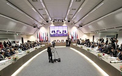 The OPEC meeting in Vienna on Thursday. (photo credit: AP/Ronald Zak)