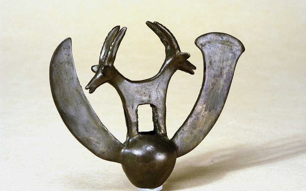 """In 1961, a group of archaeologists were looking for Dead Sea scrolls. Instead, they found the striking double ibex and the rest of the hoard now known as the """"Cave of Treasure."""" (Courtesy of the Israel Museum)"""