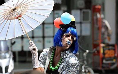 A star of the 2011 gay pride parade in Tel Aviv (photo credit: David Katz/The Israel Project)