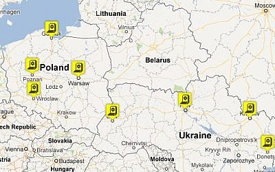 Map of the Euro1945 educational sites (screen capture from www.euro1945.com)