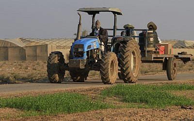 A farmer returns from work in the greenhouse of Kibbutz Nahal Oz, near the Israel-Gaza border. (Tsafrir Abayov/Flash90)