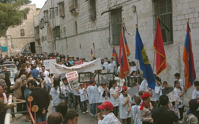 Armenians mark the anniversary of the Armenian genocide in 2007 in Jerusalem (photo credit: Yossi Zamir/Flash 90)