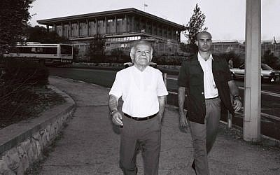 Yitzhak Shamir with a bodyguard outside the Knesset in 1991. (photo credit: Flash90)