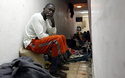 Ivory Coast infiltrators living in an old shelter in a park in Tel-Aviv. (photo credit: Miriam Alster/Flash90)