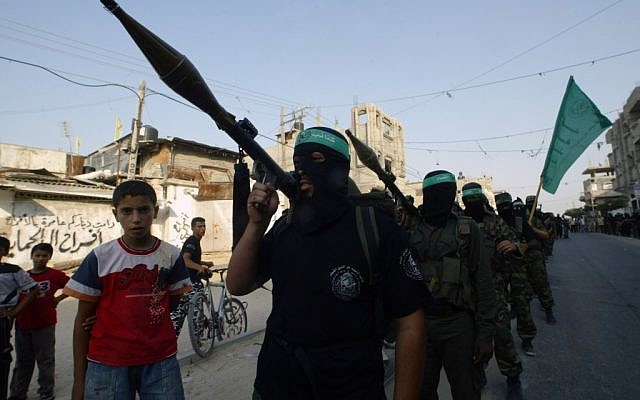 Members of Hamas's Al-Qassam Brigades parade in Rafah, 2008 (photo credit: Abed Rahim Khatib/Flash90)