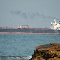 Illustrative photo of a tanker carrying crude oil (Shay Levy/Flash90)