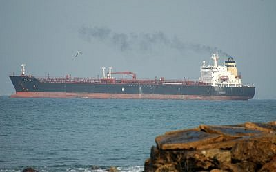 A crude oil tanker ship (illustrative photo credit: Shay Levy/Flash90)
