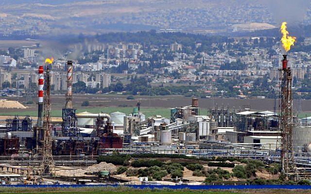 Factories in Haifa Bay. (photo credit: Shay Levy / Flash90