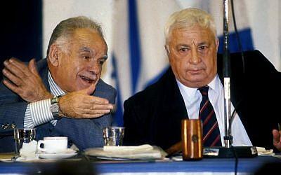 Yitzhak Shamir with Ariel Sharon (photo credit: Moshe Shai/Flash90)