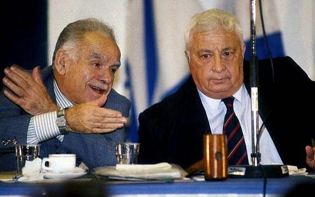 Yitzhak Shamir with Ariel Sharon (photo credit: Moshe Shai/Flash90)