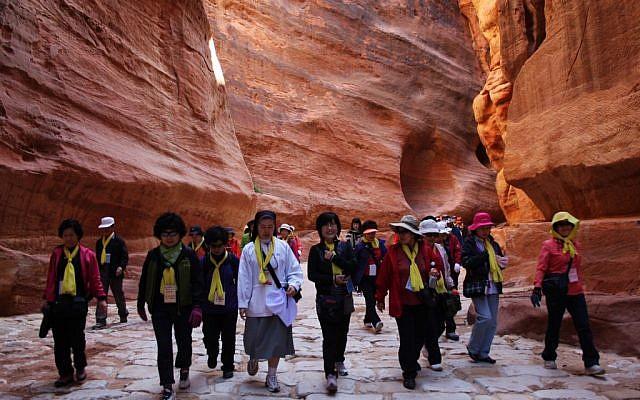 Tourists in the Jordanian city of Petra (illustrative photo credit: Audrey Attia/Flash90)