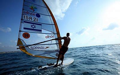 Sail surfing at Sdot Yam (photo credit: Moshe Shai/Flash 90)