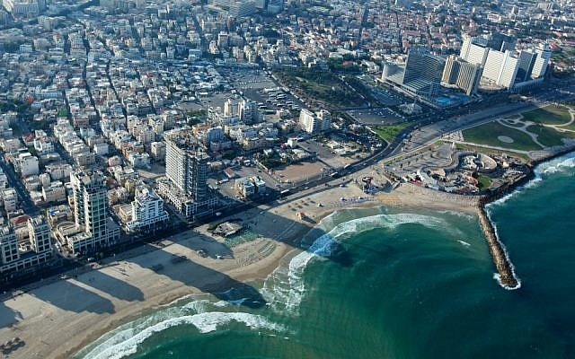 View of the Tel Aviv coastline (Moshe Shai/Flash90)