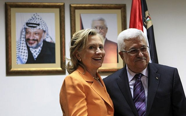 US Secretary of State Hillary Clinton meets with PA President Mahmoud Abbas in Ramallah in 2010. Their last face-to-face meeting was in 2011. (photo credit: Fadi Arouri/Flash90)