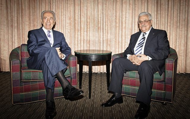 Shimon Peres (left) with Mahmoud Abbas during a 2010 meeting (photo credit: Jose Marquez/GPO/Flash90)