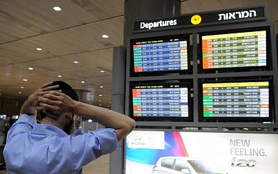 Illustrative photo of the departures board at Ben Gurion Airport. (Yossi Zeliger/Flash90)