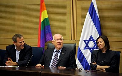 Knesset speaker Reuven Rivlin (C) and members of Meretz party, Zahava Gal-On (R) and Nitzan Horowitz (L) attend an event to mark the opening of pride month at the Knesset in 2011 (Photo: Kobi Gideon / Flash90).