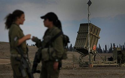 Female soldiers stationed at an Iron Dome battery, August 2011 (photo credit: Tsafrir Abayov/Flash90)