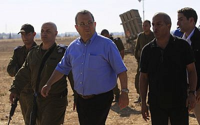 Ehud Barak during a visit to an Iron Dome platform near Ashkelon, August 2011 (photo credit: Tsafrir Abayov/Flash90)