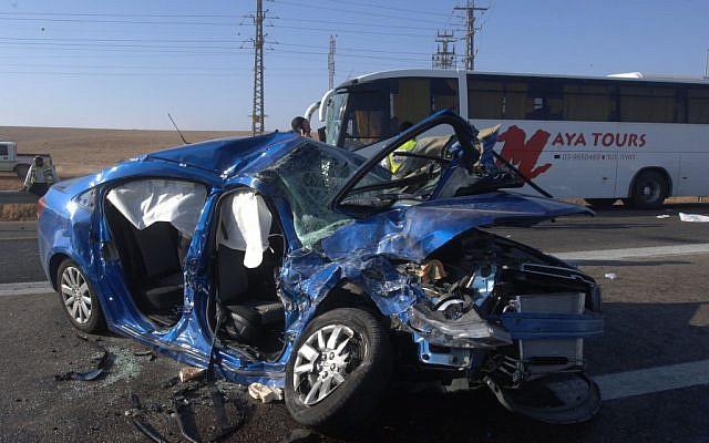 Illustrative photo of a car accident (Dudu Greenspan/Flash90)