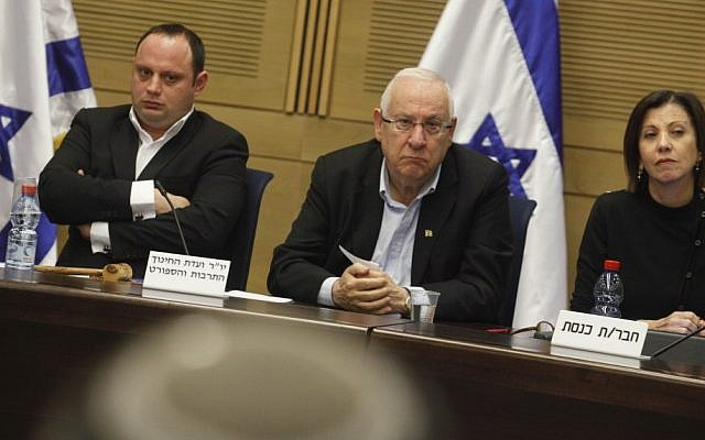 Then-MK, now President Reuven Rivlin (center) at a December 2011 Knesset committee discussion regarding recognition of the Armenian genocide (photo credit: Miriam Alster/Flash90)