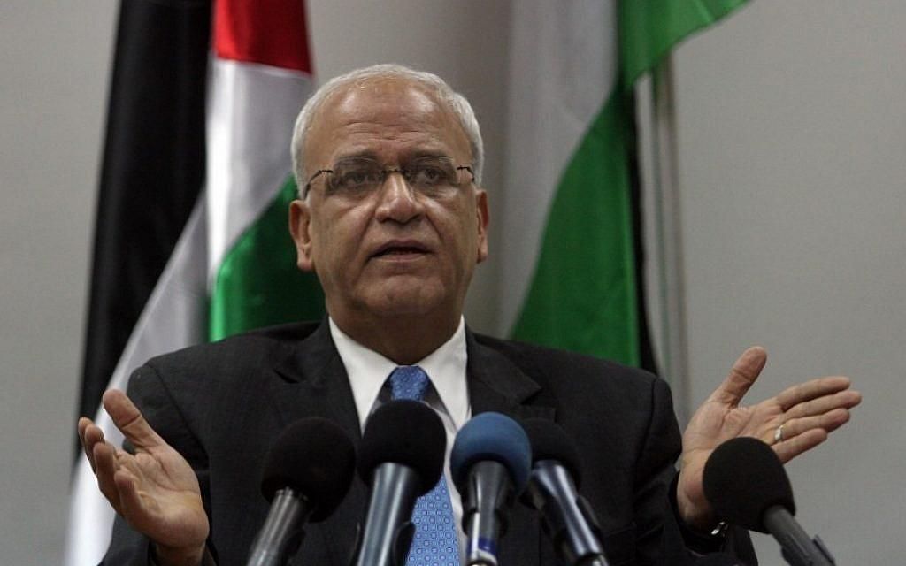 Chief Palestinian negotiator Saeb Erekat (photo credit: Issam Rimawi/Flash90)
