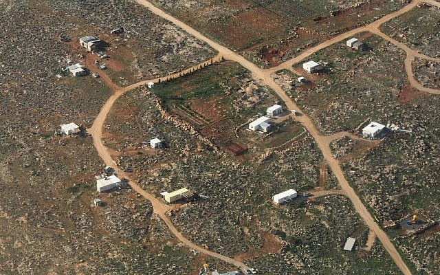 An aerial view of the illegal outpost of Maoz Esther in the West Bank (photo credit: Kobi Gideon/Flash90)