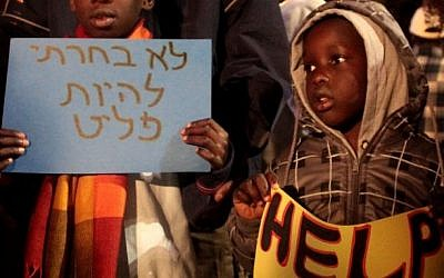 Young African refugees rally against Israel's plan to deport South Sudanese, Tel Aviv. (photo credit: Alana Perino/Flash 90)