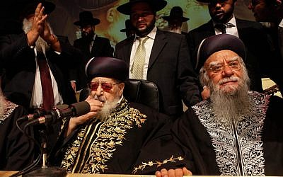 Not among the richest, yet hugely influential: Shas party spirtual leader Rabbi Ovadia Yosef, left (photo credit: Uri Lenz/Flash90)