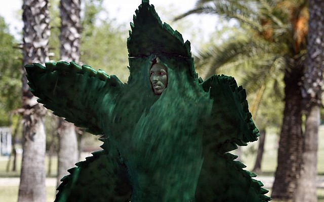 A man dresses as a marijuana leaf during a gathering in Tel Aviv's  Hayarkon Park to mark 'International Marijuana Day' on April 20. (photo credit: Tsafrir Abayov/Flash90)