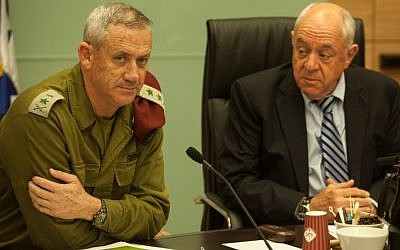 IDF Chief of Staff Benny Gantz (left) sits next to MK Roni Bar-on (Kadima) during Tuesday's  Foreign Affairs and Defense Committee hearing in the Knesset (photo credit: Uri Lenz/Flash90)
