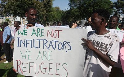 South Sudanese refugees protest against the Israeli immigration policy on June 10 (photo credit: Roni Schutzer/Flash90)