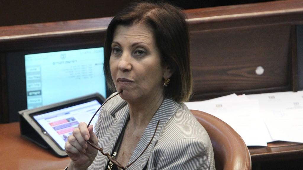Zahava Galon during a Knesset meeting (photo credit: Miriam Alster/Flash90)
