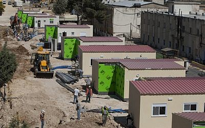 Caravans are being prepared for the families scheduled to be evacuated from the Ulpana neighborhood in Beit El (photo credit: Yonatan Sindel/Flash90)
