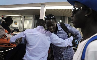 South Sudanese at Ben Gurion Airport Sunday evening (photo credit: Kobi Gideon/GPO/FLASH90)