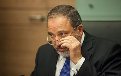 Foreign Minister Avigdor Liberman during a Yisrael Beytenu party meeting in the Knesset on Monday (photo credit: Noam Moskowitz/Flash90)