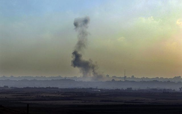 Smoke rises following an Israeli Air Force airstrike in the Gaza Strip in June (Photo credit: Tsafrir Abayov/ Flash 90)