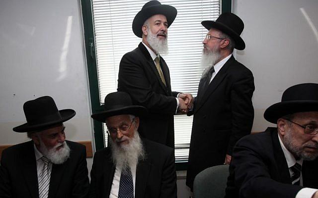 Ashkenazi Chief Rabbi Yona Metzger, center, at the Chief Rabbinate (photo credit: Yossi Zamir/Flash90)