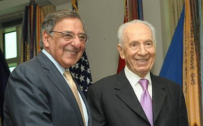 US Secretary of Defense Leon Panetta, left, and President Shimon Peres at the Pentagon on Monday. (photo credit: Amos Ben Gershom)